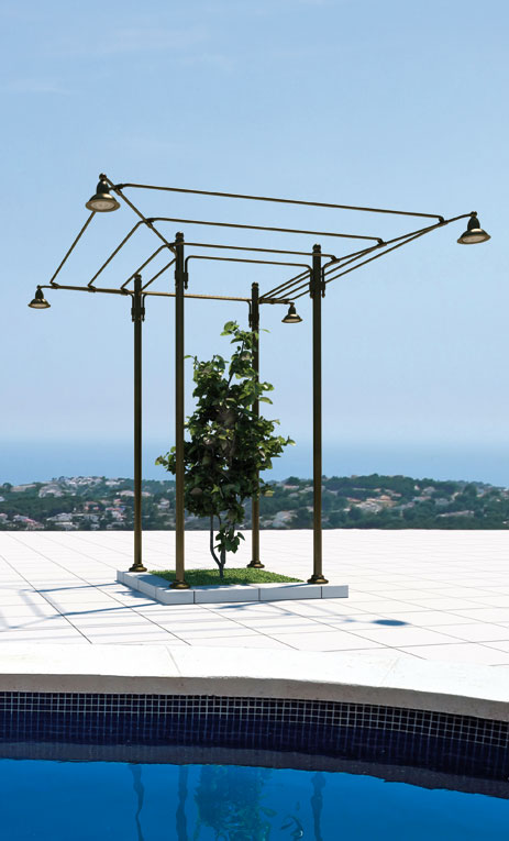 Aged brass lighted pergola with open roof, Linea Miramare SHA4.