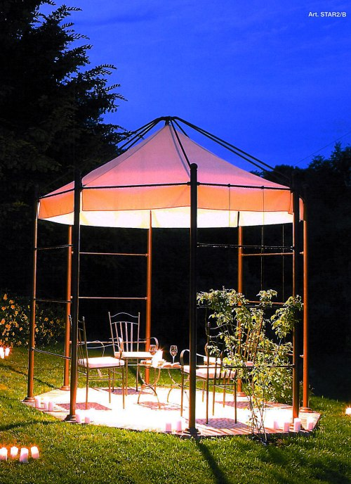 Linea Frassanelle, STAR2/B.  Aged brass octagonal gazebo with central light fixture.