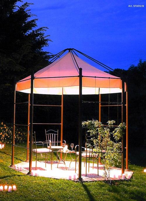 Linea Frassanelle, STAR2/B.  Aged brass octagonal gazebo with central light fixture.