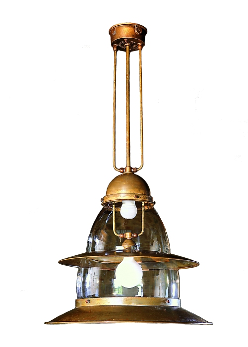 Pramper 11.910 Aged Brass Contemporary Industrial Pendant